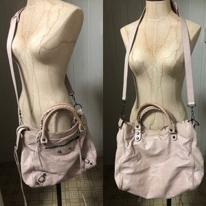 BALENCIAGA VELO Moto Bag Pale Pink Leather Cross B